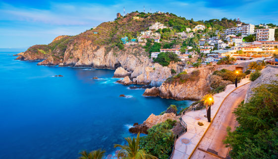 Rocky Coastline with Promenade in Acapulco Mexico