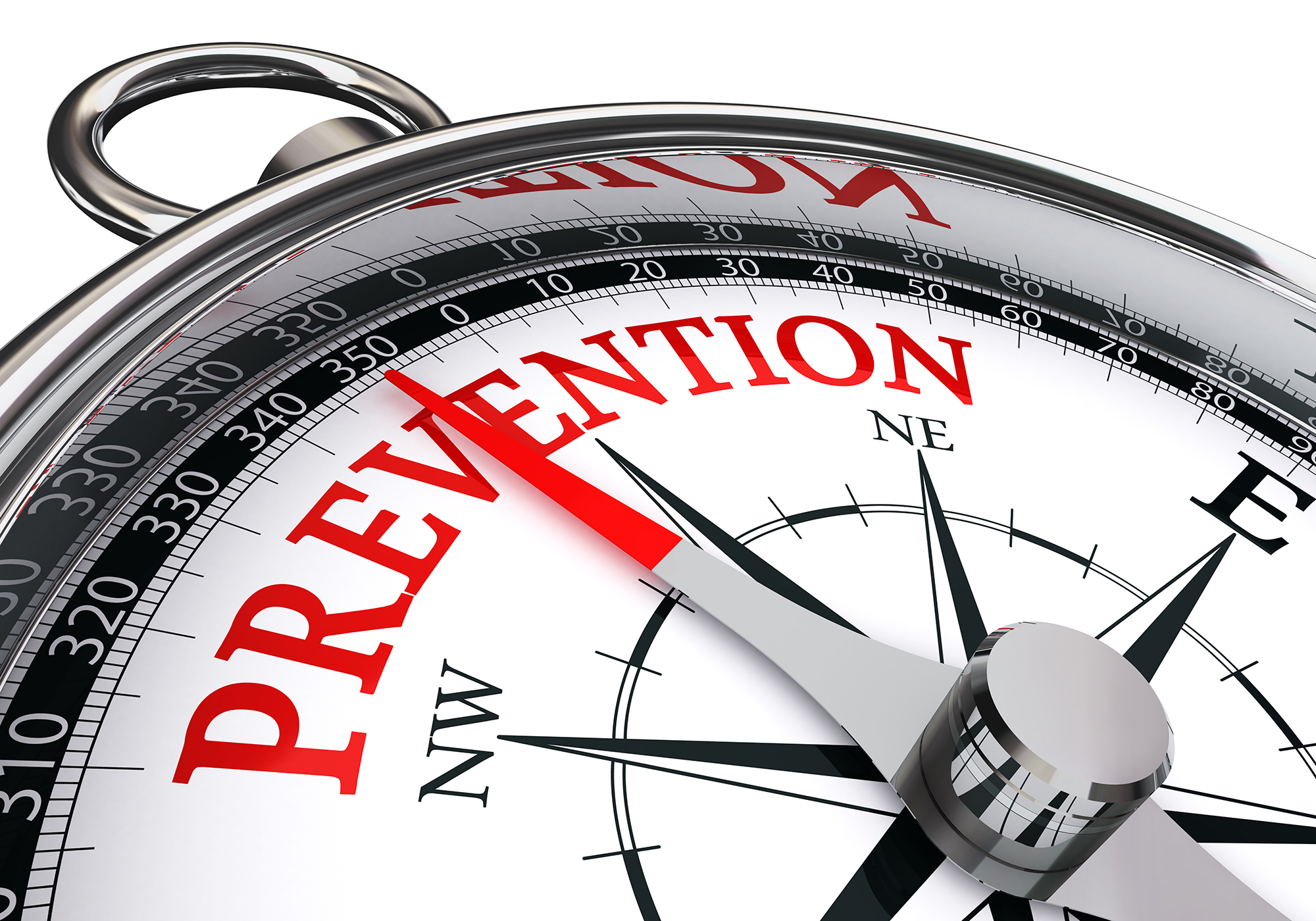 prevention red word on concept compass