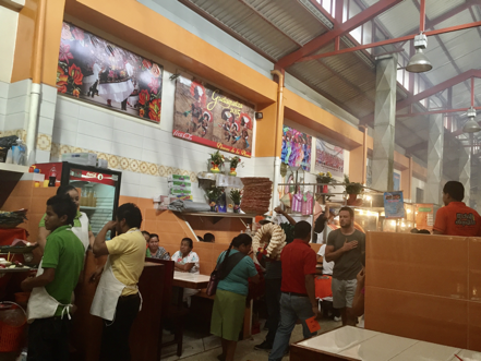 One of the dining areas inside the bustling Mercado